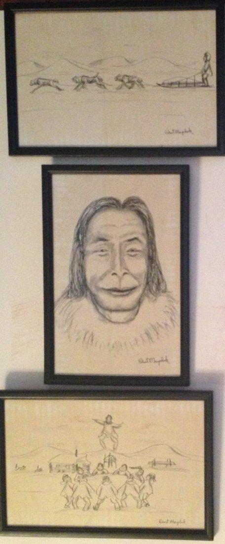Three Alaskan Paintings, Robert Mayokok
