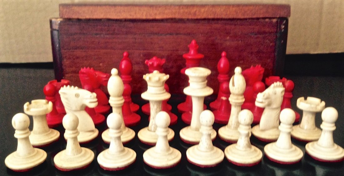 Hand-Carved Chess Set,  Circa 1900's - 2