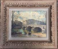 MidCentury French Painting Seine River Signed