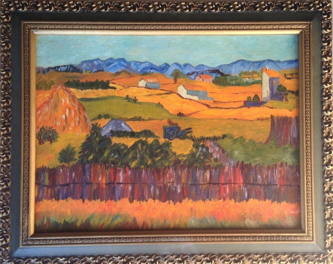 Mid-century American Farm Landscape Painting