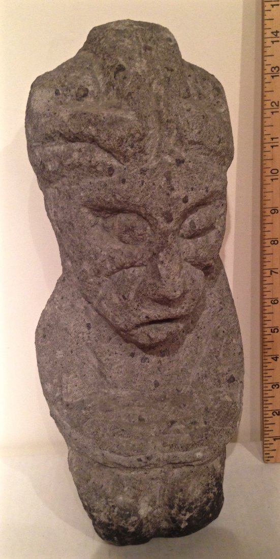 "Carved Figural Stone Architectural  Element, 14""hgt"