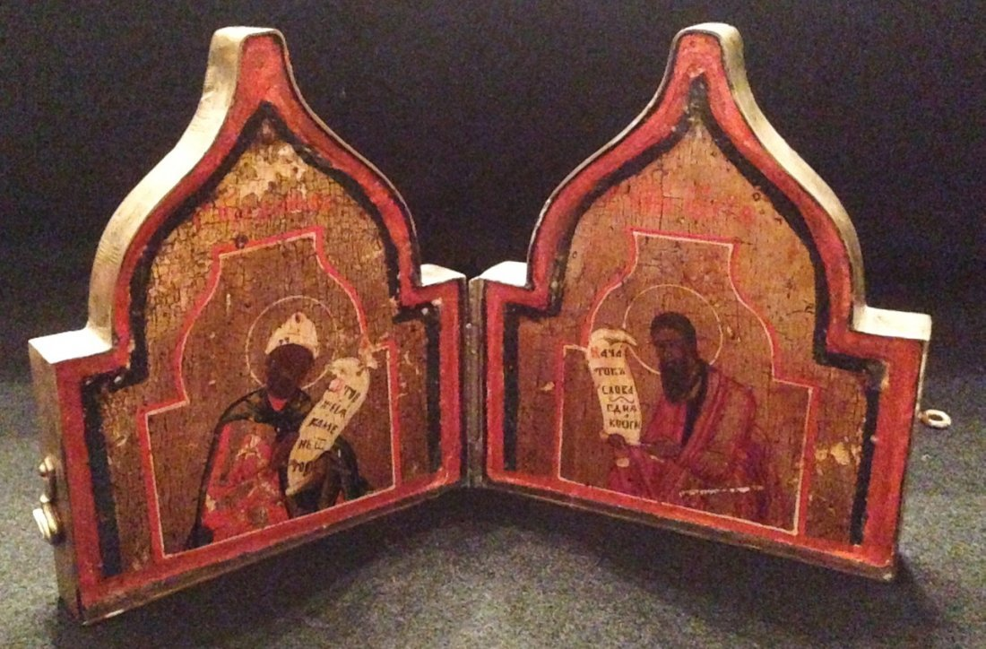 RussianTravel Diptych, Painted Wood Icons In Case