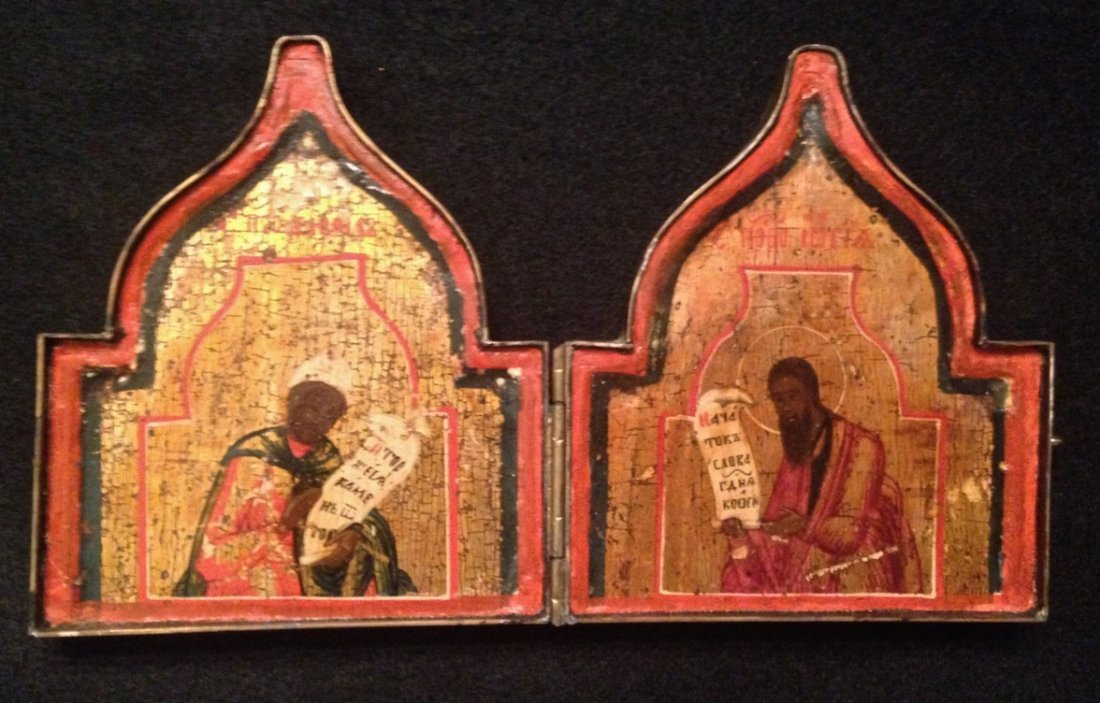 RussianTravel Diptych, Painted Wood Icons In Case - 4