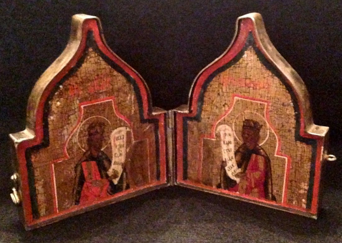 Russian Travel Diptych, Painted Wood Icons In Case