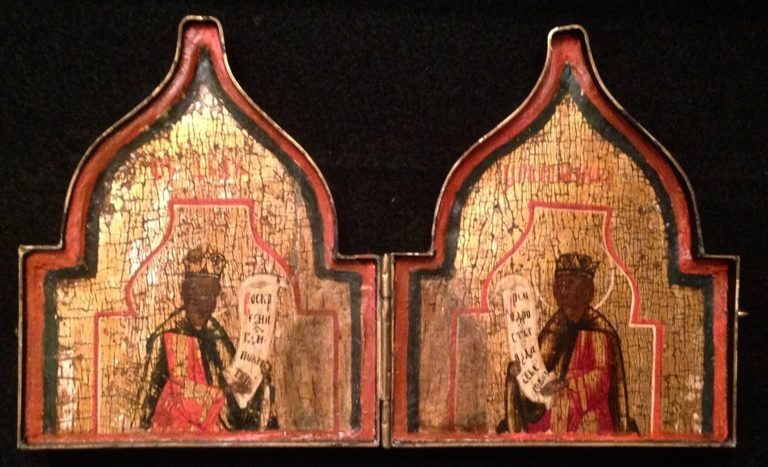 Russian Travel Diptych, Painted Wood Icons In Case - 5