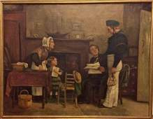19th c. French Oil Painting of a Young Sailor, C.J.Leon