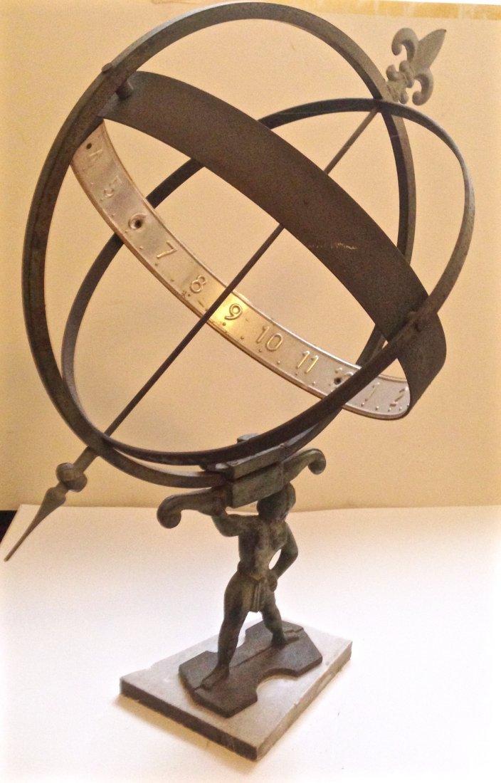 Large Iron Armillary Sphere Sundial With Atlas