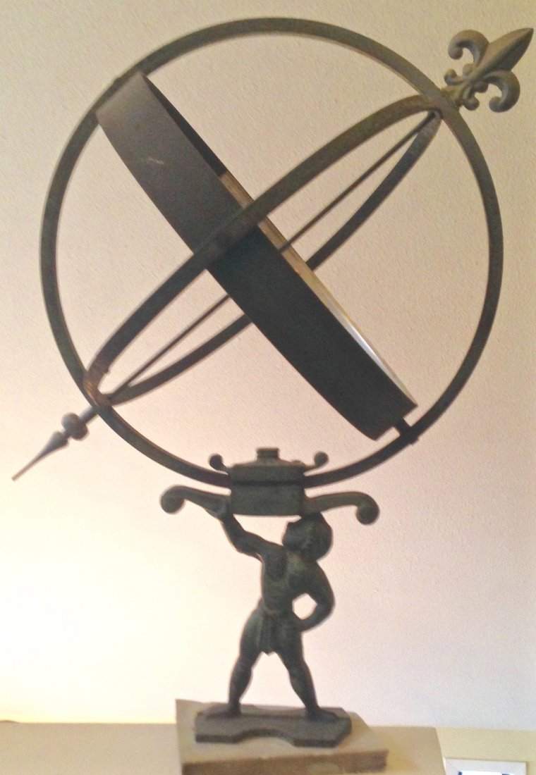 Large Iron Armillary Sphere Sundial With Atlas - 3