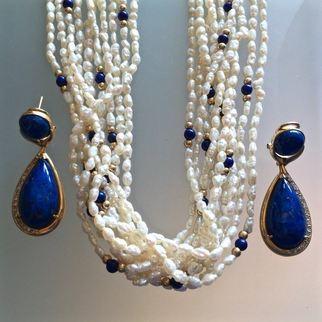 Gold, Lapis Lazuli, Diamonds & Pearls - 2