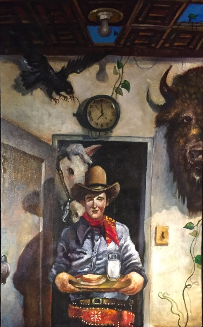 """Jerry  Moriarty, Oil Painting: """"Cowboy"""", Jack Survives"""