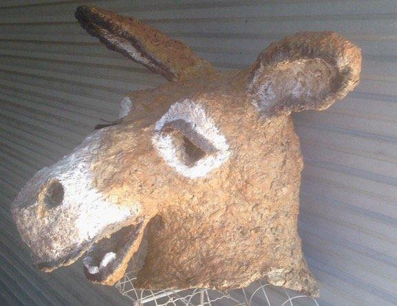 "Papier Mache Donkey Mask/Head 1950's, (27.6""x 33"")"
