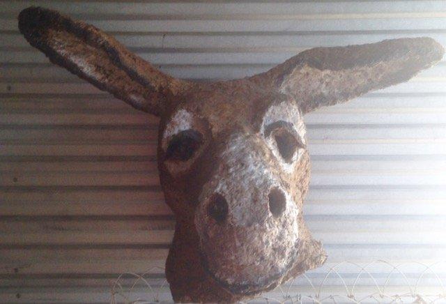 "Papier Mache Donkey Mask/Head 1950's, (27.6""x 33"") - 2"