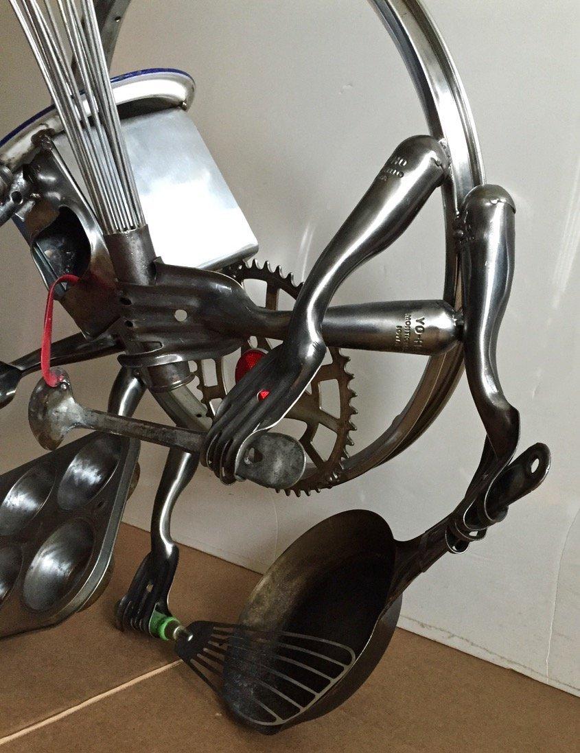 Found Object Metal Pop sculpture, Robot Man, Signed - 2