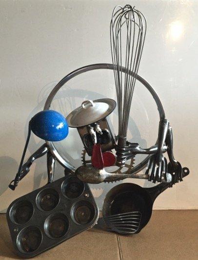Found Object Metal Pop sculpture, Robot Man, Signed - 7