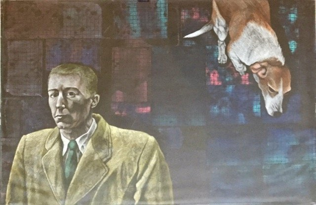 Painting: City Man With Floating Hound Dog 1960's