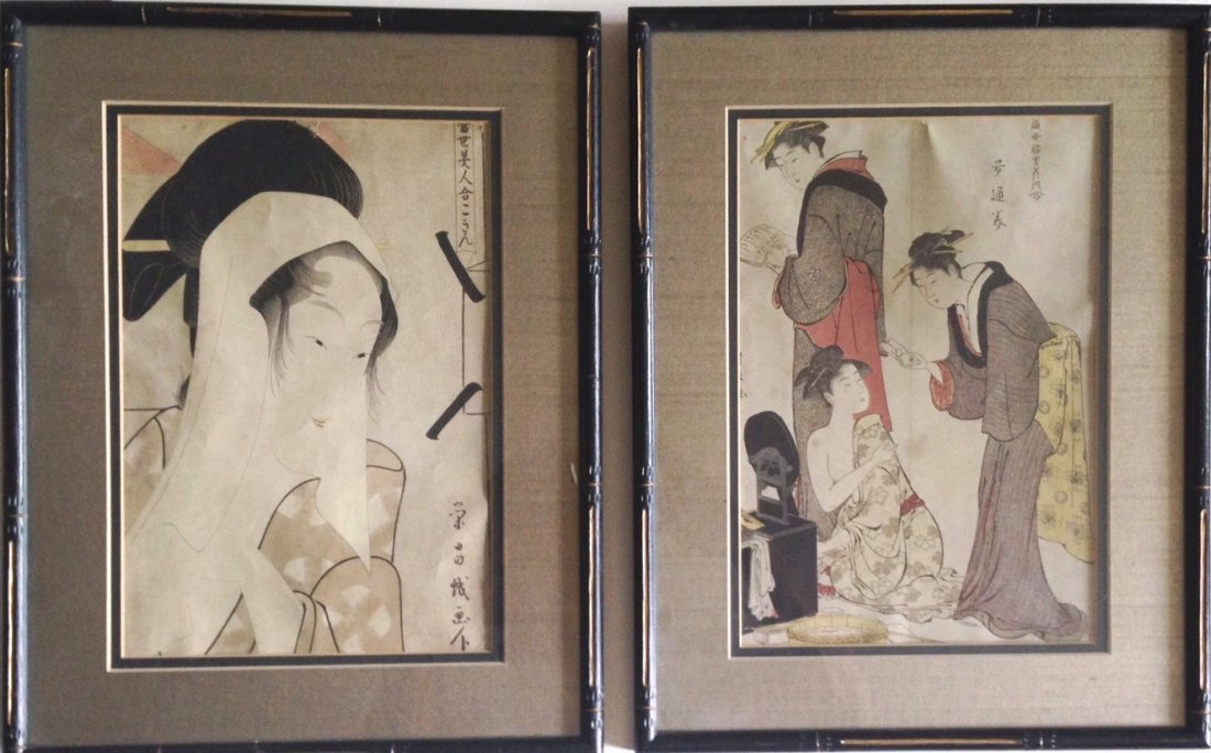 Antique Japanese Woodblock Prints, Beauties