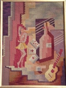 Mid-century Modernist Cubist Tapestry, 1950's