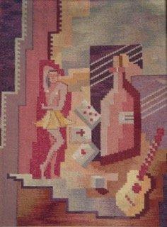 Mid-century Modernist Cubist Tapestry, 1950's - 2