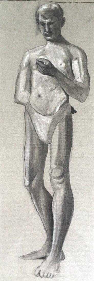 """Geo. Merritt Graphite Drawing """"Young Man"""" - 2"""
