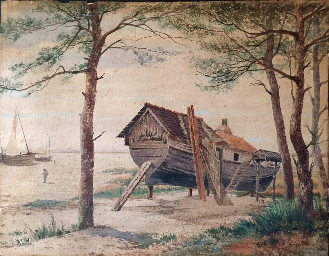 "French Impressionist Watercolor,""Arcachon"" Launay""1890"