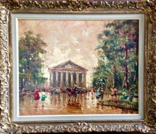 Antonio DeVity, (Italy,b.1901-1993) Paris Park Painting