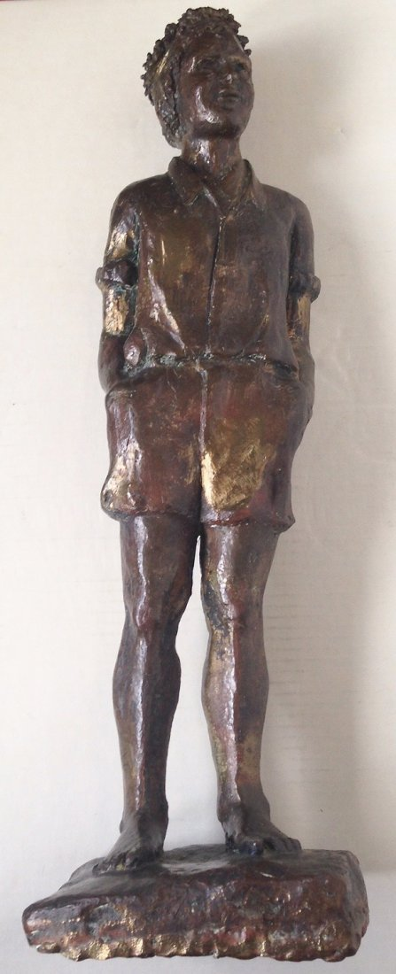"""Large Bronze Statue, Young Man, 1940's, 19.75"""" hgt"""