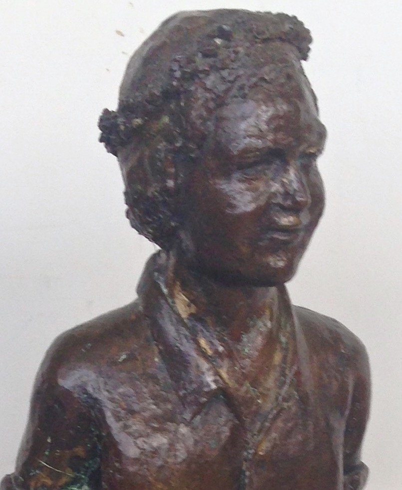 """Large Bronze Statue, Young Man, 1940's, 19.75"""" hgt - 3"""