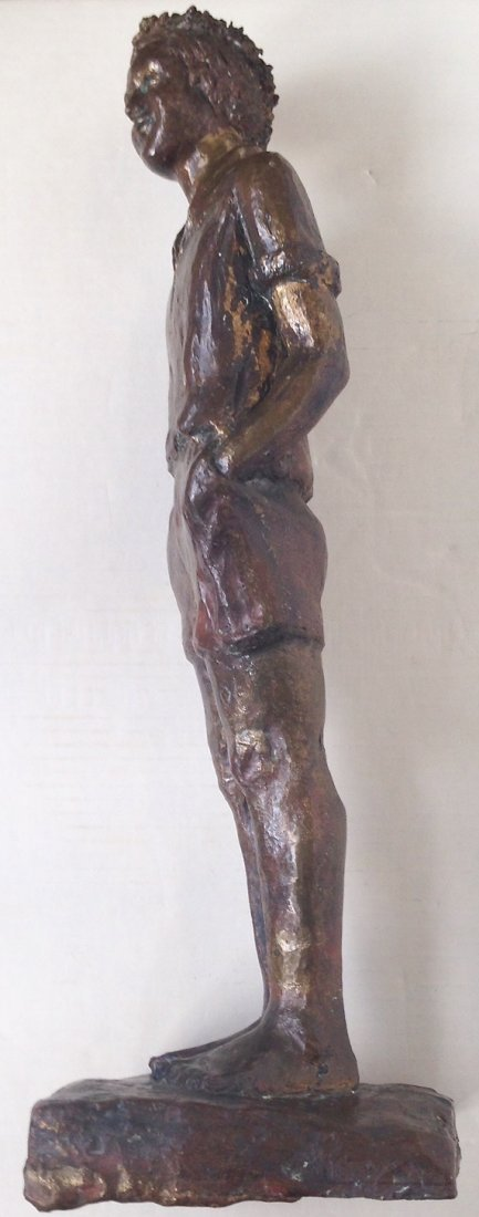 """Large Bronze Statue, Young Man, 1940's, 19.75"""" hgt - 5"""