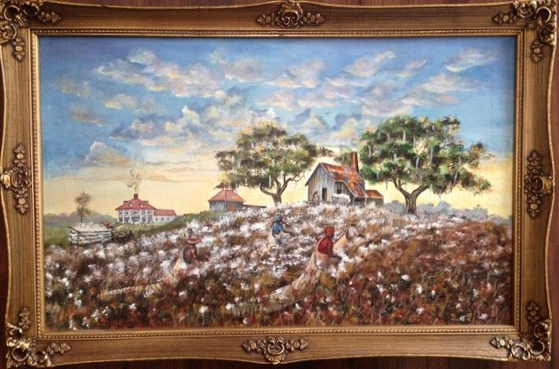 "Southern Plantation painting""Cotton Pickers"" A. Grass"