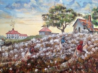 "Southern Plantation painting""Cotton Pickers"" A. Grass - 3"