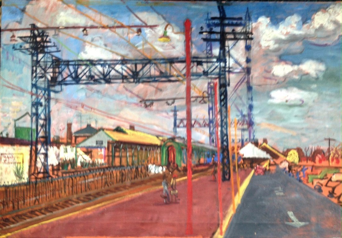 Hudson Valley Painting, Upstate Railroad Station,1950's