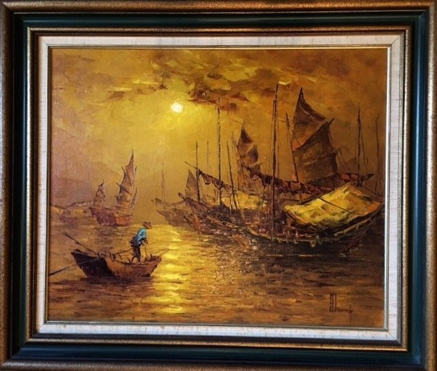 Hong Kong Harbor Oil Painting, Signed 1950's