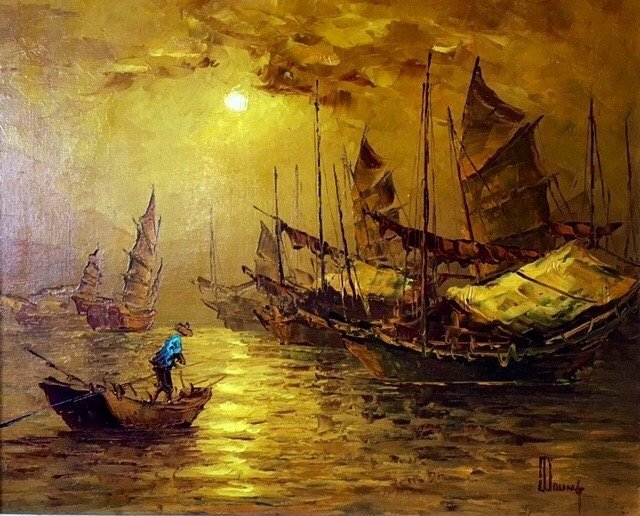 Hong Kong Harbor Oil Painting, Signed 1950's - 2