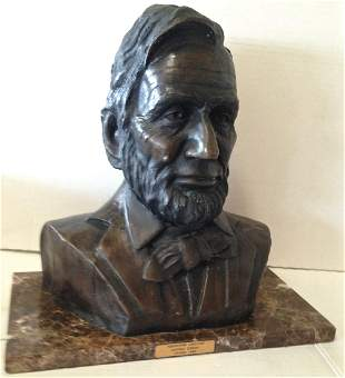 Abraham Lincoln Bronze Bust, Signed