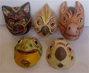 Collection of Mexican Carnival Masks, 1950's