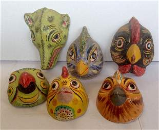 Collection of Mexican Carnival Masks. 1950's