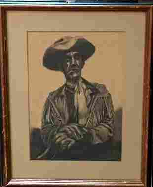 Western Drawing, Cowboy Of The Wild West, 1950's