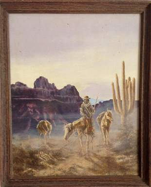 Superstition Mountains Western Painting, J. Phillips