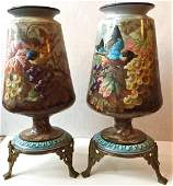 Pair of French Porcelain Vases on Gilt Bronze Mount