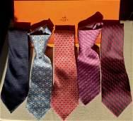 Five Hermes Paris, Silk Men's Neck Ties