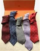 Group of Five Hermes Silk Mens Neck Ties