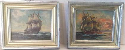 "Alfred Gabali, Seascape Paintings ""Ships At Sea"""