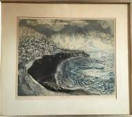 MidCentury Modern Abstract Lithograph L Heyman