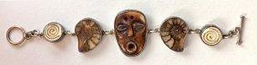 ECHO OF THE DREAMER, Sterling, Ammonite & Bone Bracelet