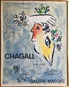 Chagall Lithographic Exhibition Poster, Blue Sky 1964