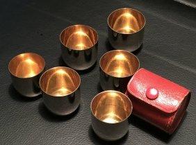 German Metal Shot Glasses In Leather Travel Case