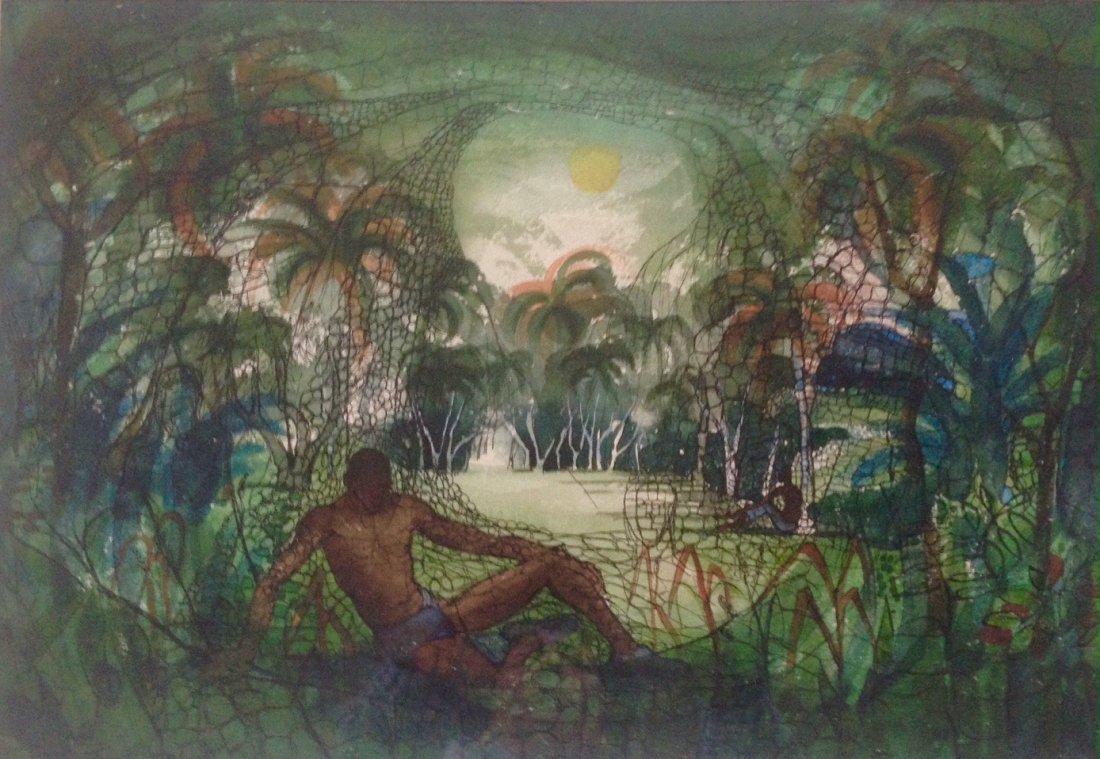Theodore Hancock, Modernist Figural Landscape, 1950's