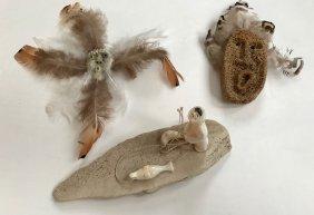 Eskimo Inuit Carvings, Whale Bone & Walrus Ivory (3)