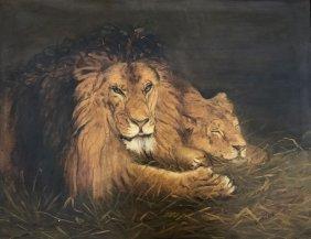 19TH C. CONTINENTAL PAINTING, BRITISH LIONS, E.ATKINSON