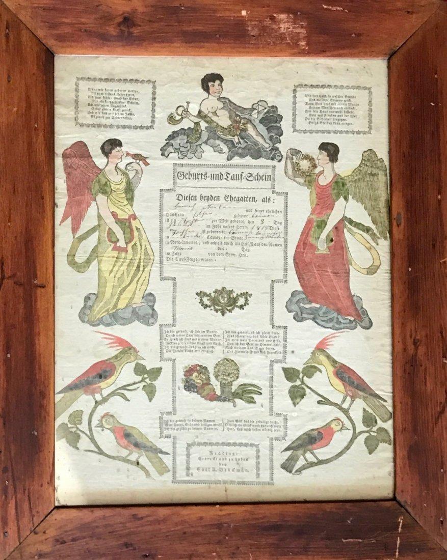 German Hand Colored Printed Fraktur, 1818 Reading, PA